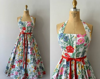 Vintage 1980s Dress - 80s Floral Cotton Sundress - Field of Flowers