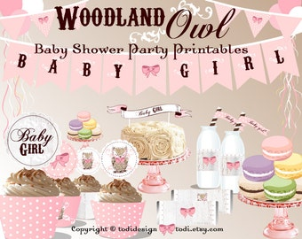 Baby Shower Party Printables -  WOODLAND OWL Party