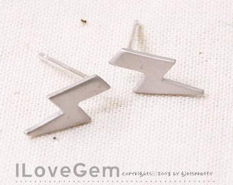 NP-1753 Matt Rhodium Plated, mini thunderbolt, Earrings, 925 sterling silver post, 2pcs