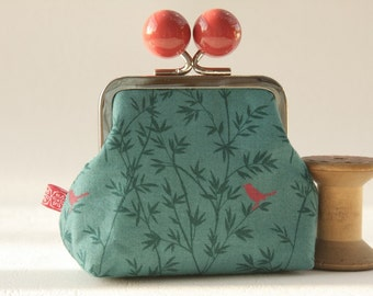 Silver metal frame coin purse/ jewelry purse/ big red bobbles/blue green/fine leaves/red bird/Asami collection/Bamboo in teal.