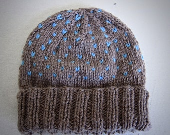 Fisherman's heart- chunky hat in taupe and robin's egg blue