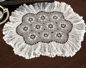 Large White Doily, Crochet Centerpiece, Hand Crocheted, Fluted Border, Ruffled Edge Doilies 13103