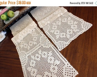 Narrow Table Runners, 2 Matching Table Scarves, Ecru Filet Crocheted, Hand Made 13214
