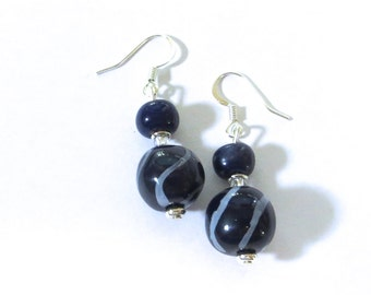 Kazuri Earrings,Navy Blue and White Ceramic Earrings