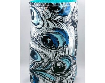 Wastebasket car trash can collapsible use anywhere crafting thread catcher laminated cotton waterproof WASTIE Peacock Feathers with aqua