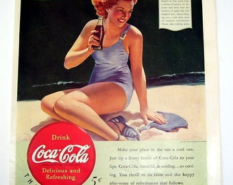 1940 Coca Cola Magazine Print Page Ad, Lady in Purple One Piece Bathing Suit, Drink coca Cola, 5 Cents, Original 1940 Magazine Advertising