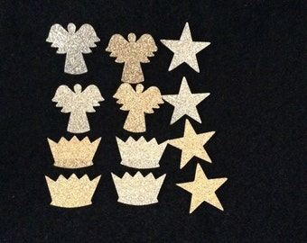 Glitter Vinyl Iron On Angel Appliques-Glitter Heat Transfer Vinyl-Angel Crowns Stars-Glitter Christmas Shapes Decals-Vinyl Applique