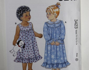 Kwik Sew 3423, Toddlers' Nightgowns Sewing Pattern, Sewing Pattern, Toddlers' Sleepwear Pattern, Toddlers' Patterns, Size T1 to T4, Uncut
