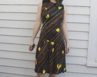 70s Brown Dress Mod Coquelicot Print French Poppy Sleeveless Pleated Vintage S