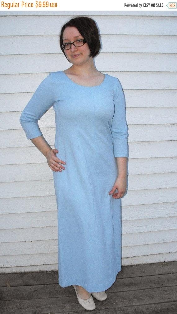 SHOP SALE 60s Blue Dress Mod Long 1960s Vintage L 40 Bust