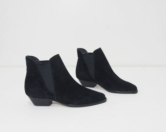 Black Suede Leather Ankle Boots Size 6 Vintage Shoes