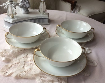 Beautiful Notitake Double Handle Soup Bowl and Saucer