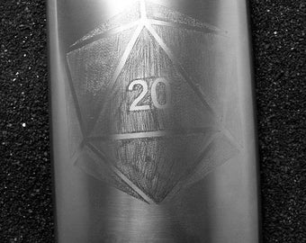 D20 dice die hand engraved XL flask