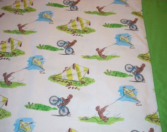 Curious George on white - Pillowcase with green trim - Fits Standard and Queen size pillows