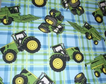 John Deere - Blue and green plaid -  Cotton Fabric - 15 inches wide and sold by the yard