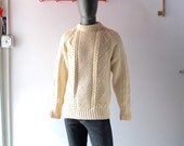 Vintage 1970s Brooks Brothers Wool Fisherman Sweater - Large 42 44 - Hand Knit Northern Ireland - Men's Woolen Jumper - Sexy Vintage Preppy