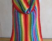 Rainbow scarf, crochet, warm, long, bright, colorful, shawl, handmade, unique design, lady gift, scarf with fringe, winter scarf