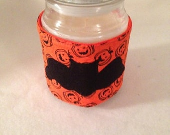 Candle Cozy Quilted Cotton Candle Wrap Jar Candle Surround Pumpkins Bats