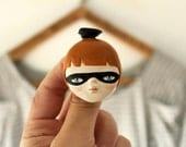 Halloween wearable art - Clay brooch - lady with a bird