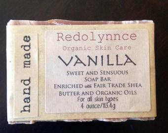 Vanilla--Organic Soap.GMO free.Cruelty Free.Cold Process Vegan Label free option