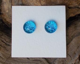Dichroic Glass Earrings, Caribbean Blue DGE-787