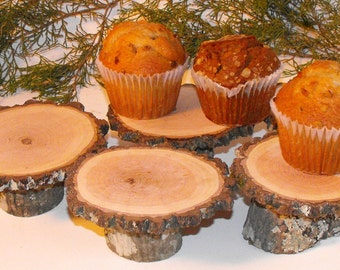 12 Rustic mini Cupcake Stands ~ woodland weddings cupcake holders ~ baby showers ~ fairy garden accessories ~ reunions ~ Summer BBQ