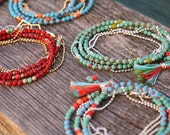 Boho Beaded Strands in Red, Turquoise, Jade or Coral