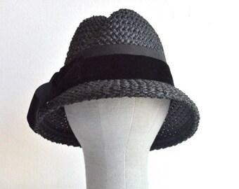 50% OFF SALE / SALE / Vintage 1960s black straw fedora hat