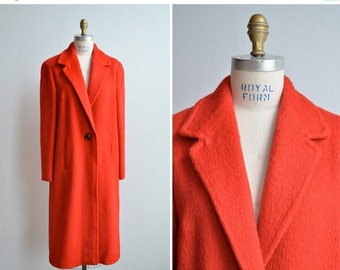 50% OFF SALE / SALE / Vintage 1960s bright cherry red mohair wool coat