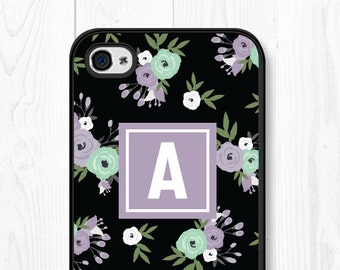 iPhone 6 Case Floral Phone Case Floral Samsung Galaxy S7 Case Monogram iPhone SE Case iPhone 6s Case Floral iPhone 6 Plus Case Purple Black