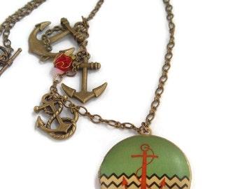 Nautical Locket,Anchors Away Necklace, Ocean beach Jewelry,anchor necklace, red jewelry,locket necklace,locket jewelry,beach sea locket