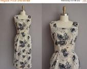 25% off SHOP SALE... 50s black leaf cotton print vintage wiggle dress / vintage 1950s dress