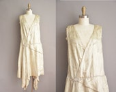 20s antique sliver lame flapper dress / vintage 1920s dress