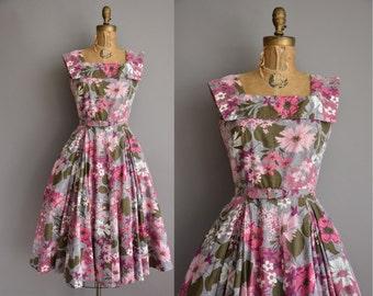 50s pink & purple floral cotton vintage dress by Jeanne / vintage 1950s dress