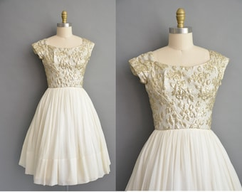 50s shimmery gold floral brocade chiffon vintage party dress / vintage 1950s dress