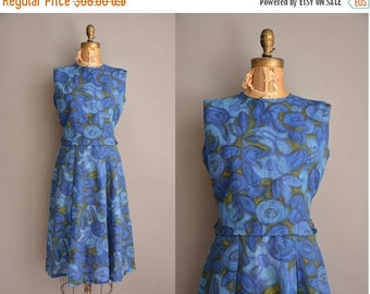 Anniversary SHOP SALE... 50s blue floral cotton vintage dress / vintage 1950s dress