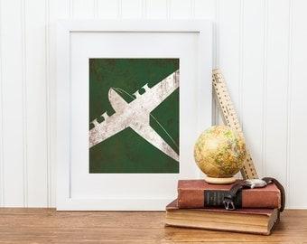 Boy Airplane Nursery Decor - Airplane Nursery Wall Art - Digital Download - Big Boy Room, Boy Nursery Art, Airplane Art