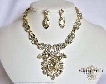 Gold Bridal Jewelry Set, Statement Necklace, Wedding Jewelry Set, Vintage Inspired Necklace, Rhinestone Necklace