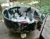 Reserved for Teri - silver dapple doxie bowl