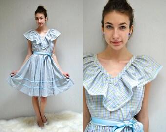 70s Square Dance Dress  //  Midi Circle Dress  //  SWEET SWINGER