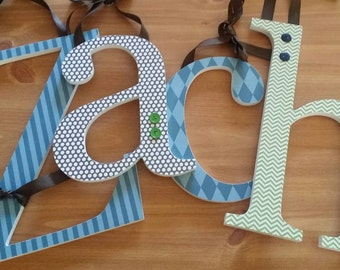 Wooden letters for Wall,  NAVY,  BROWN and GREEN, Nursery Wall Letters, Baby boy, Personalized, Custom Baby Gift, Boys Room Ideas