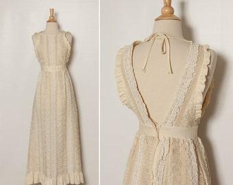 vintage 60s / 70s ivory bohemian dream maxi dress California Charmer