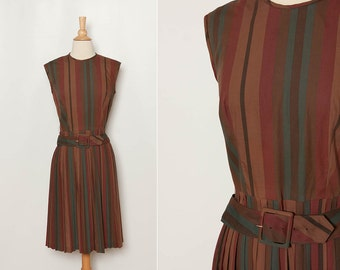 vintage 1960s striped dress with belt