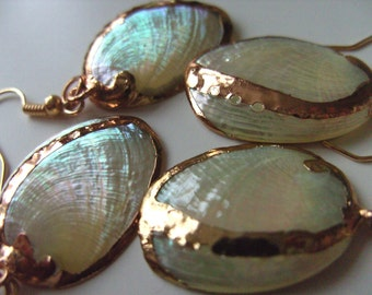 Gorgeous, SHELL, earrings, golden trim, electro plated, cream white and beige,pearl, abalone, by NewellsJewels on etsy