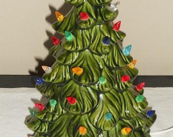 Vintage Small Green Ceramic Christmas Tree-w/ Multi-Colored Lights