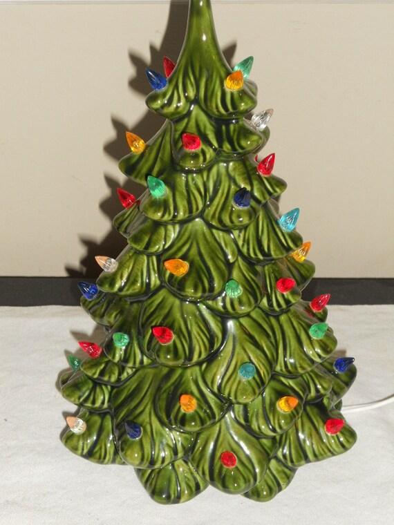 Vintage small green ceramic christmas tree w multi colored