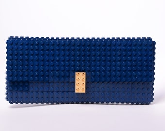Dark blue clutch purse with real gold plated elements made with LEGO® bricks FREE SHIPPING purse handbag legobag trending fashion