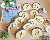 Custom Single-Faced 1-17 Plus Mr. and Mrs. Rustic Table Numbers
