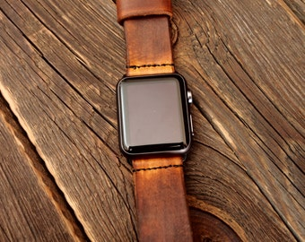 Vintage Apple Watch Band Strap 38mm /  Handmade leather strap/band for Apple Watch 38mm