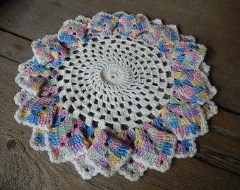 Vintage Doily Romantic Pastel Cottage Style Hand Crochet Kitchen Babys Room Home Decor